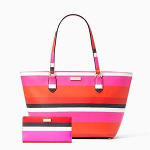 Kate Spade Bonita Stripe Stacy Tote Bag Wallet Set